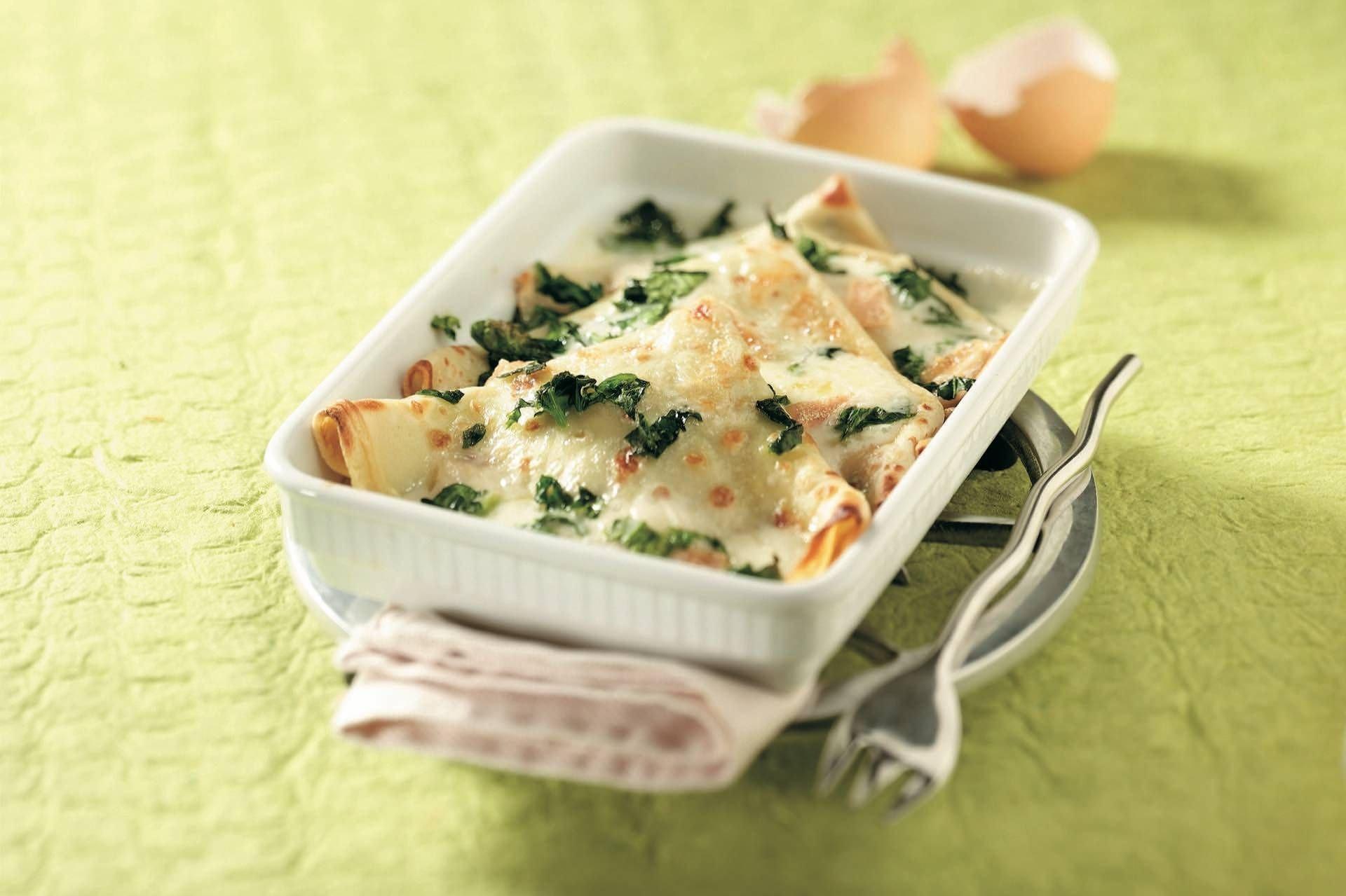 Crêpes con ricotta, spinaci e fonduta di taleggio - Parmalat