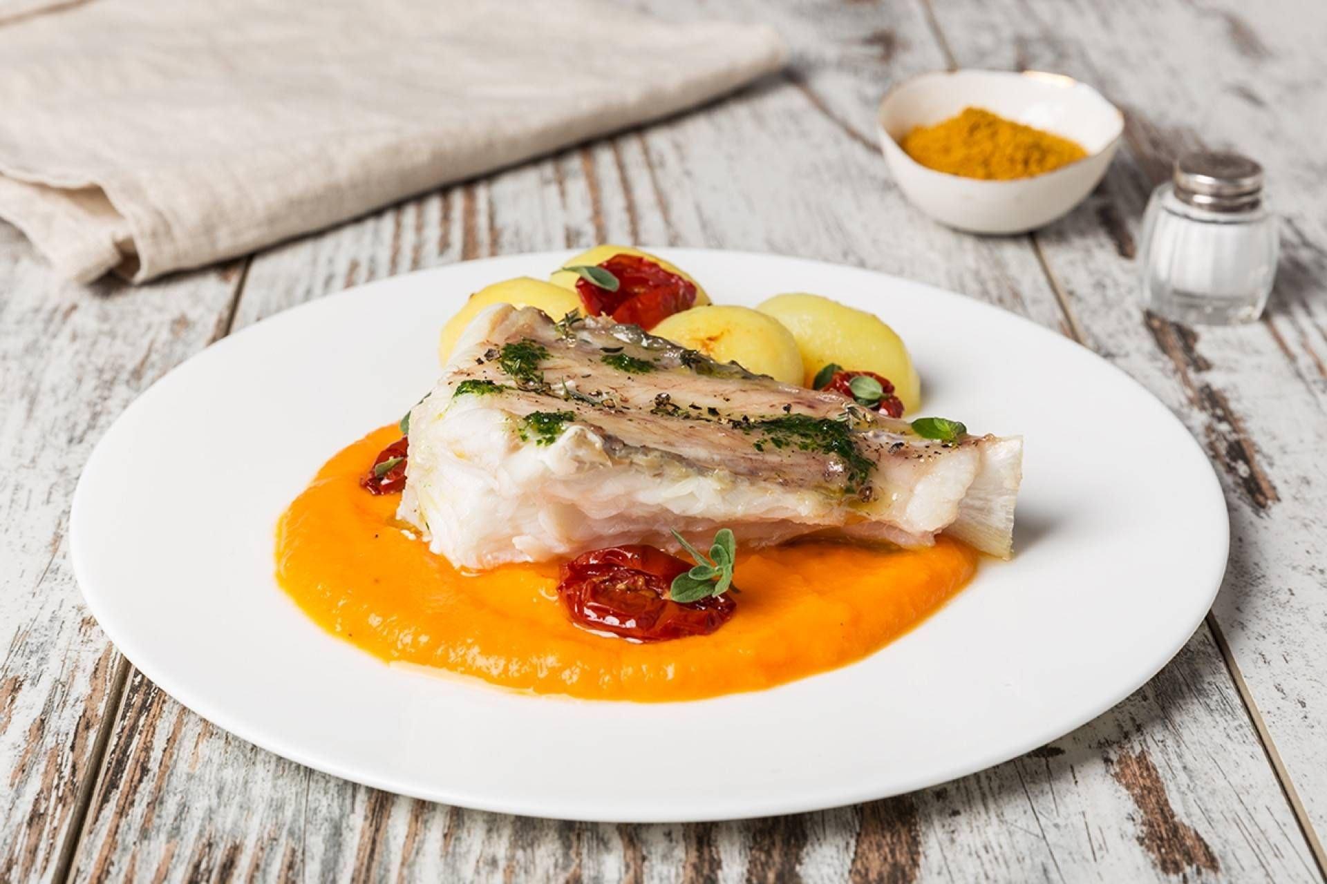 Rana pescatrice con patate novelle e crema di zucca - Parmalat