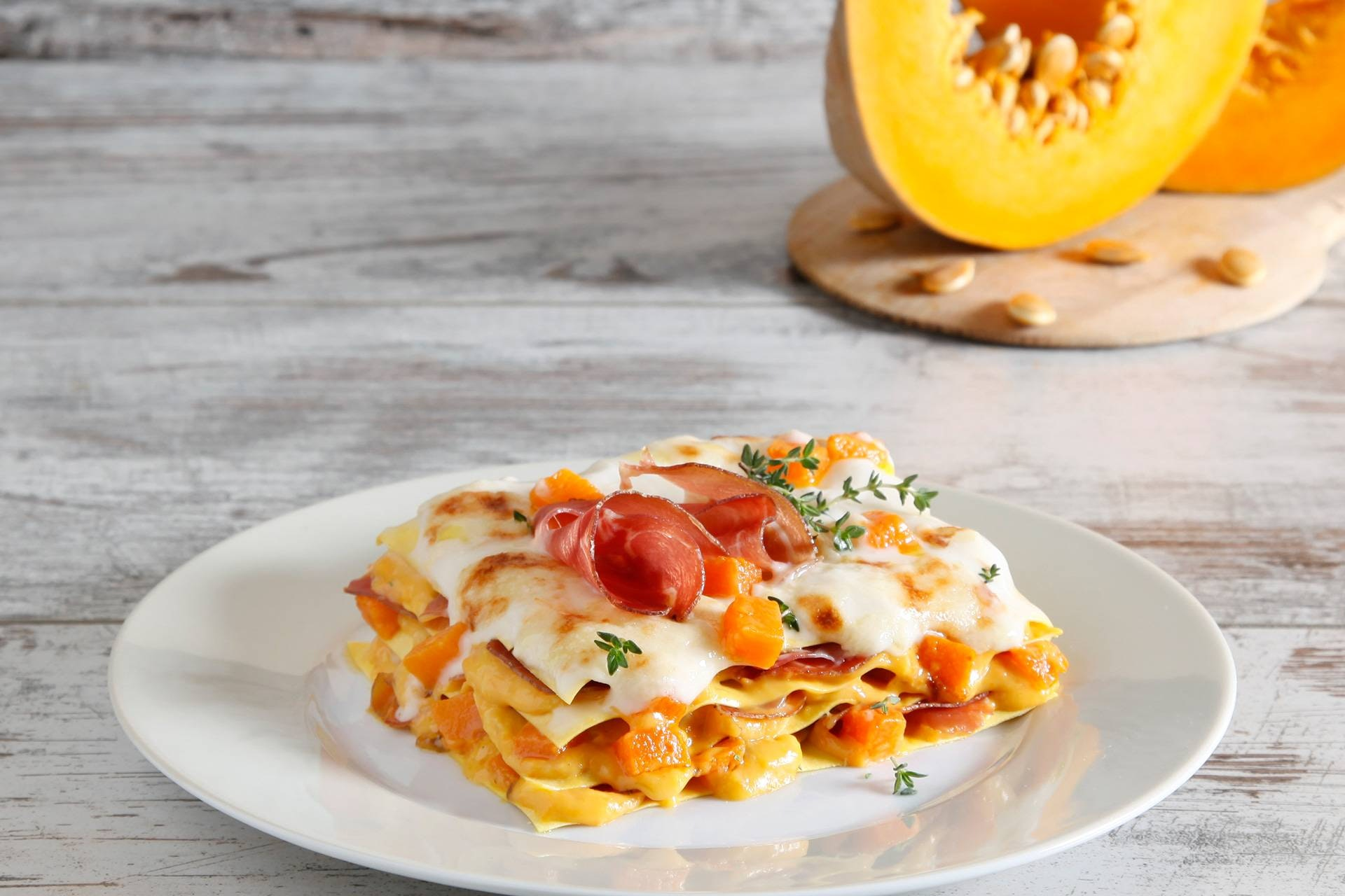 Lasagne con zucca, scamorza e speck - Parmalat