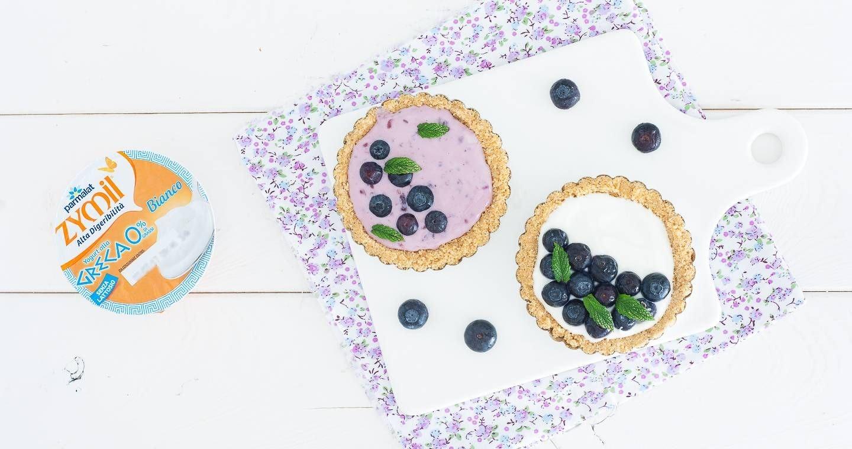 Crostatine senza cottura con crema allo yogurt e mirtilli - Parmalat