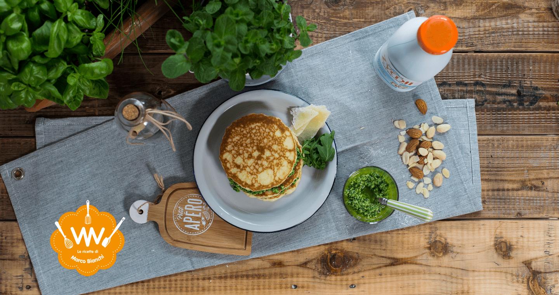Pancake salati con pesto di rucola, mandorle e pecorino - Parmalat