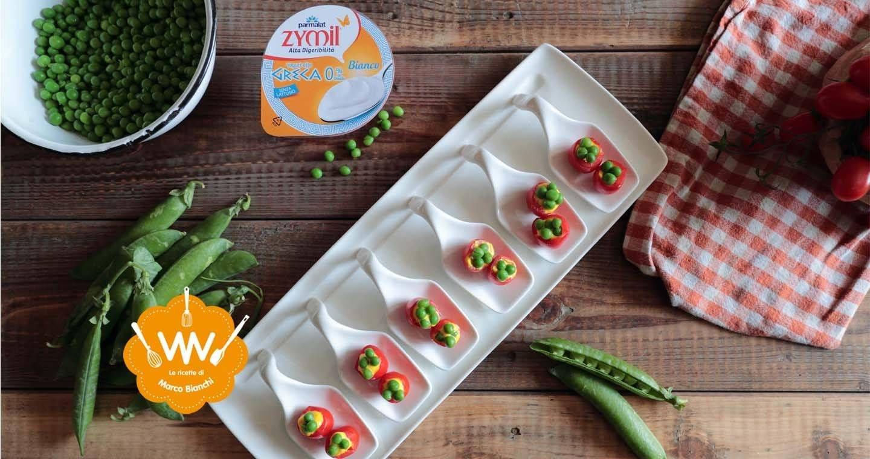 Pomodorini ciliegino ripieni di pisellini e crema di yogurt greco allo zafferano - Parmalat