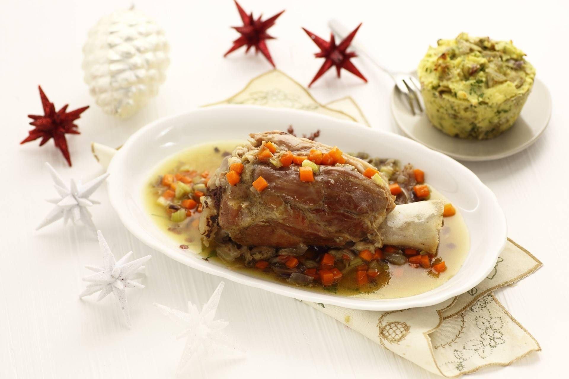 Stinco brasato con flan di patate e carciofi - Parmalat
